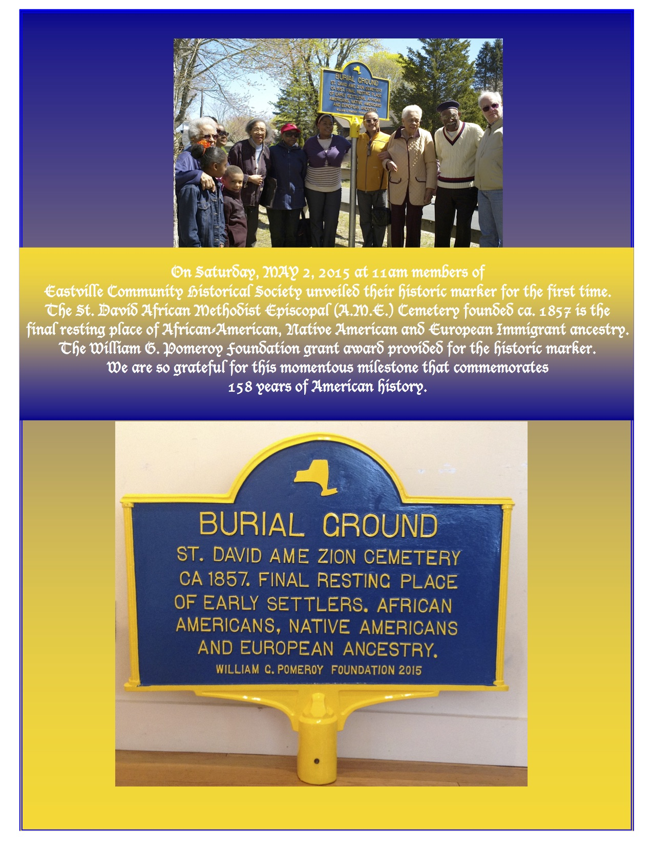 Unveiling of our historical marker